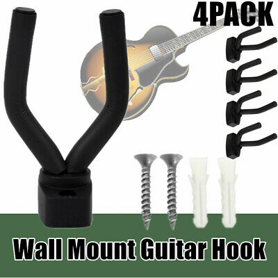 4PACK Guitar Wall Hanger Bracket Support Fits Electric Acoustic Bass Guitars