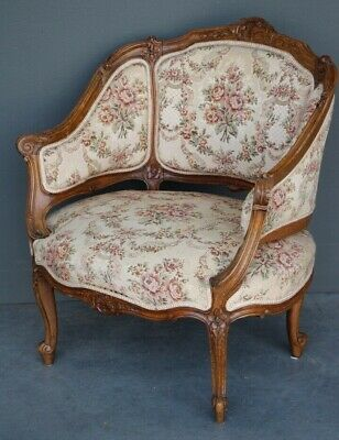 Antique French Louis XV solid carved bergere armchair Big tapestry seat comfy