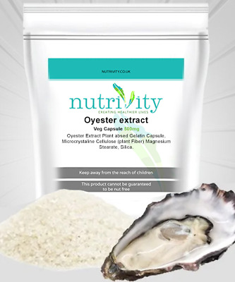 Oyster Extract 500 mg Capsules - Nutrivity UK Made - Free Fast Shipping