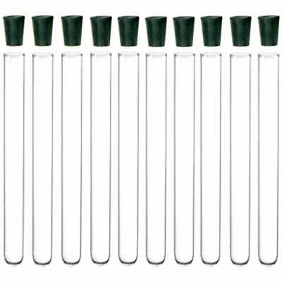 """16X150mm Glass Test Tubes With Rubber Stoppers, 201B5 (Pack Of 10) Science Lab """""""