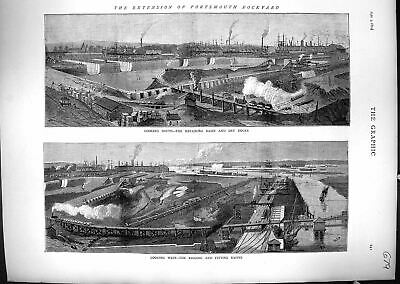 Old 1874 Extension Portsmouth Dockyard Repairing Basin Dry Docks Rigg Victorian
