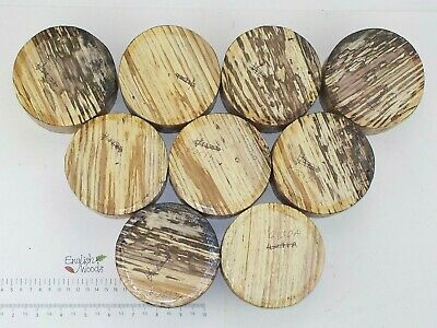 9 Spalted English Ash woodturning or wood carving bowl blanks. 105 x 50mm. 4130A