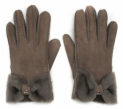 UGG Gloves Bow Shearling Bow Shorty Stormy Grey Medium NEW $155