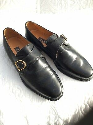 Bally Swiss Mens Leather Black Monk Strap Shoes UK Size 9 E Gold Colour Buckle