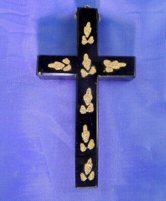 Stunning Antique French Jet & Gold Leaf Large Cross Pendant