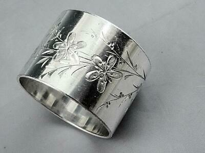 Antique Victorian Silver Plate Napkin Ring With Bright Cut Flowers