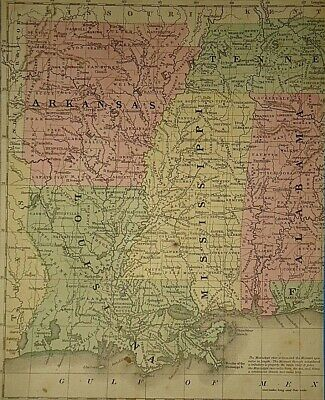 Vintage 1858 ARKANSAS LOUISIANA MISSISSIPPI MAP Old Antique Original Atlas Map