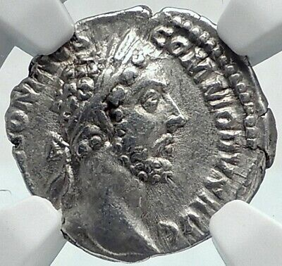COMMODUS Authentic Ancient 180AD Rome Silver Roman Coin FELICITAS NGC i81909