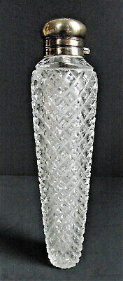 Large American Brilliant Cut Glass Sterling Silver Laydown Perfume Scent Bottle