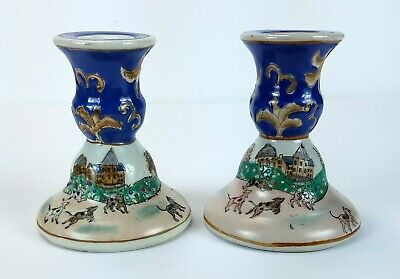 Vintage Scenic Dogs in City Painted Ceramic Porcelain Candlestick Holder Pair