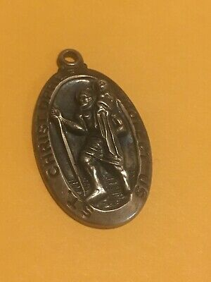 Vintage Creed Sterling Silver St. Christopher Protect Us Pendant