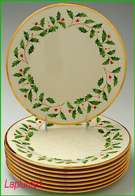 8 LENOX HOLIDAY DIMENSION HOLLY DINNER PLATES 24K GOLD RIMS ~MINT COND ~ Set #2
