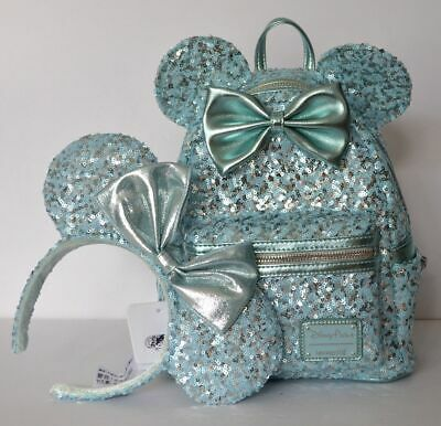 Disney Parks Arendelle Aqua Loungefly Mini Backpack & Matching Headband NWT