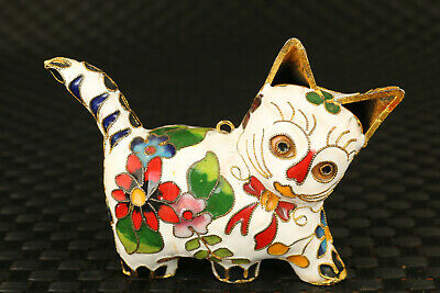 Chinese rare old cloisonne hand carved lovely cat statue collectable gift