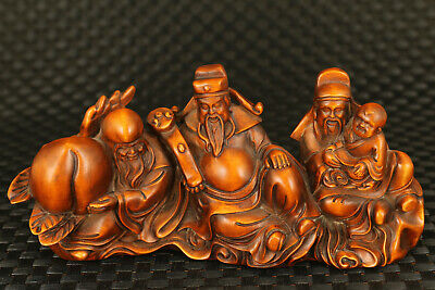 Chinese old boxwood hand carved god wealth god longevity statue decoration gift