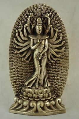 Chinese Old Collectible Hand Miao Silver Carving Thousand-hand Kwan-Yin Statue