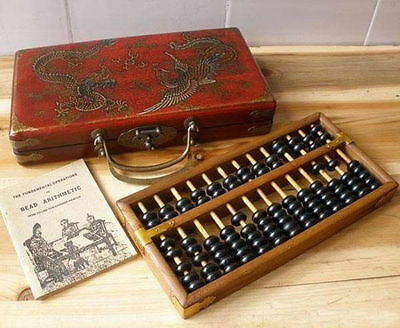 Chinese HAND dragon phoenix leather wood box with a abacus inside a351