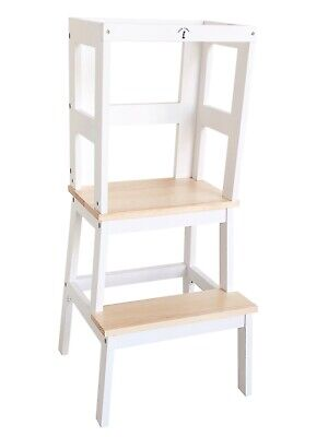 Safe Learning Tower - Little Risers - Toddler Tower. White / Pine