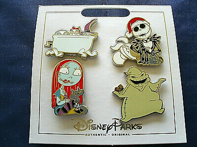 Disney Parks * NIGHTMARE BEFORE CHRISTMAS * 4 Pin Set on Card Trading Pins