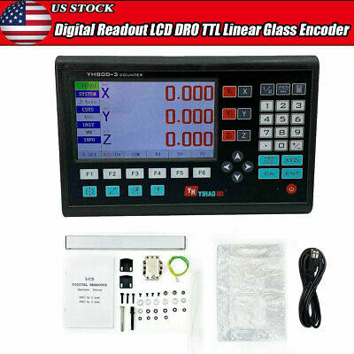 3 Axis Digital Readout Display System for LCD DRO DB9 TTL Linear Scale Milling