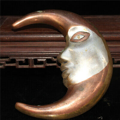 """6.69"""" Collection Chinese pure copper silvering Handmade Moon god Pendant a131"""