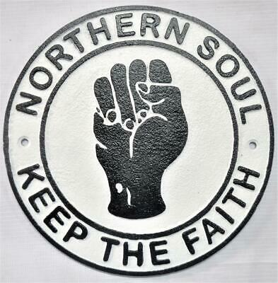 "Vintage style Cast Iron Wall Sign - ""Northern Soul - Keep the Faith"""