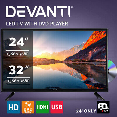 "Devanti LED TV 24 Inch 32 Inch 24"" 32"" Built-In DVD Player DC 12V Caravan Boat"