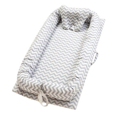 100% Cotton Newborn Lounger Portable Grey Wave Soft Baby Snuggle Nest Bed Travel