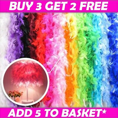 2M Feather Boa Strip Fluffy Craft Costume Fancy Dress Xmas Party Decor 6 Colours