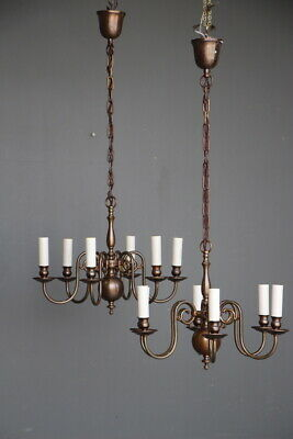 Rare pair Scandinavian baroque or French Provincial chandeliers vintage bronze