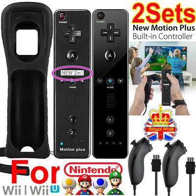Built in Motion Plus Remote Nunchuck Controller + Case for Nintendo Wii / Wii U.