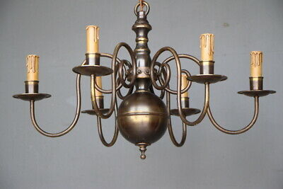 Antique Scandinavian baroque or French Provincial 6 arm chandelier solid brass
