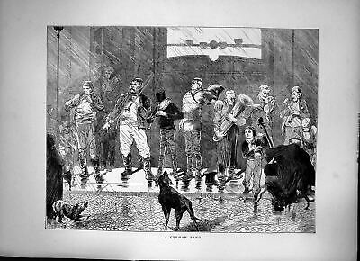 Antique Print A German Band Musical Instruments On Stage Dogs Barking 1872 19th