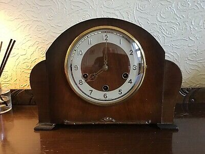 Vintage Smiths Enfield Oak Westminster Chimes Mantel Clock Circa 1950's