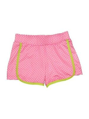 Big Girls Pink White Pin Dot Print Riley Lined Sport Swim Shorts 7-16