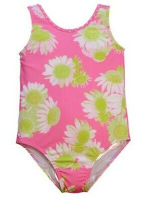 Little Girls Pink White Darling Daisy Print Jacen One Piece Bathing Suit 2T-6X