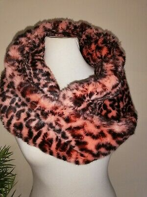 River Island Faux Fur Super Soft Pink Animal Print Scarf Snood