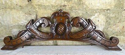 "27"" French Antique Pediment Hand Carved Solid Walnut Wood Crest Fronton"