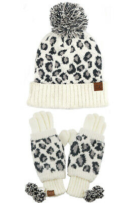 Jinscloset C.C 2pc Winter Warm Fuzzy Leopard Cuffed Beanie with Gloves Set