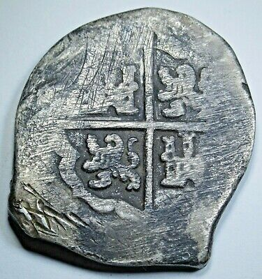 1600's Seville R Spanish Silver 8 Reales Eight Real Old Colonial Pirate Cob Coin