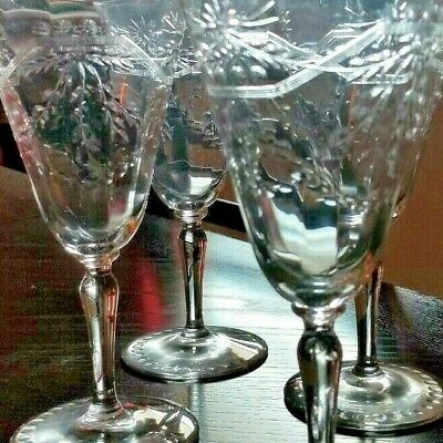 Four antique 1930's Etched wine Glasses with Dots and Wheat  pattern
