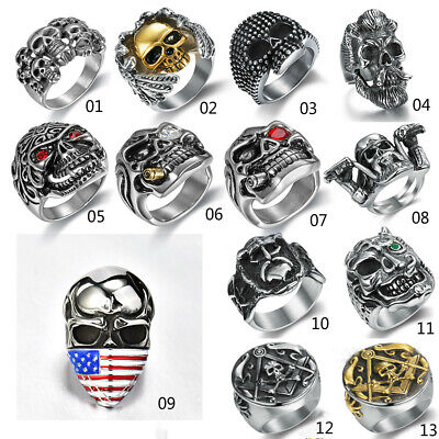 Fashion Mens Gothic Punk Skull Rings Solid Stainless Steel Jewelry Party Band