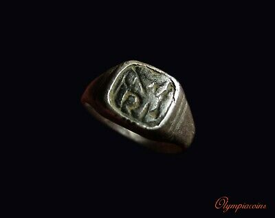 ** EXCELLENT  ** Ancient Byzantine SILVER  Ring ** MONOGRAM  **