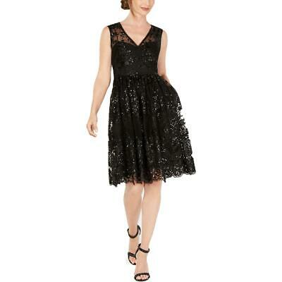 Adrianna Papell Womens Black Lace Sequined Party Cocktail Dress 8 BHFO 4952