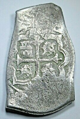 1600's Spanish Mexico Silver 8 Reales Eight Real Colonial Dollar Pirate Cob Coin