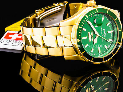 Invicta Mens Pro Diver Swiss Made Green Dial 18K Gold Tone Bracelet 44mm Watch