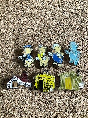 Disney Pin The Three Little Pigs Complete Set Of 7 2019 DLR Hidden Mickey Wave C