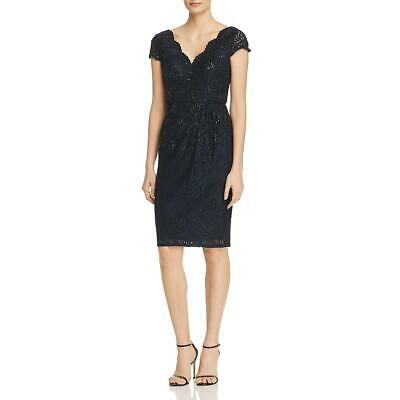 Adrianna Papell Womens Navy Lace Sequined Party Cocktail Dress 6 BHFO 3109