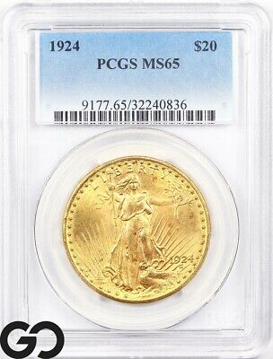 1924 MS65 Double Eagle, $20 Gold St Gaudens PCGS Mint State 65 ** Free Shipping!