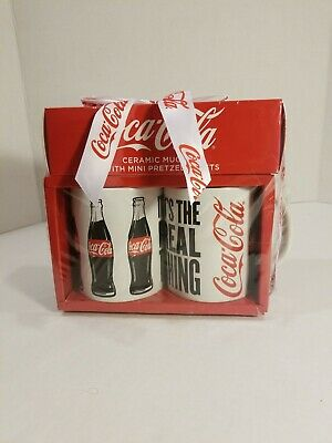 Coca-Cola ceramic mug set with Mini pretzel twists